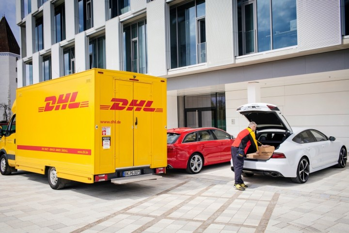 Audi, Amazon and DHL teamed up together to create new delivery service that would allow customers to get their items directly to the boot of their car. Image courtesy of Audi