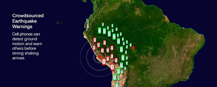 Crowdsourced Earthquake Warnings. Cell phones can detect ground motion and warn others before strong shaking arrives. Base map originally created by NASA. Image credit: Emiliano Rodriguez Nuesch with Pacifico