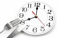 fork and wall clock with white background, concept of breakfast time