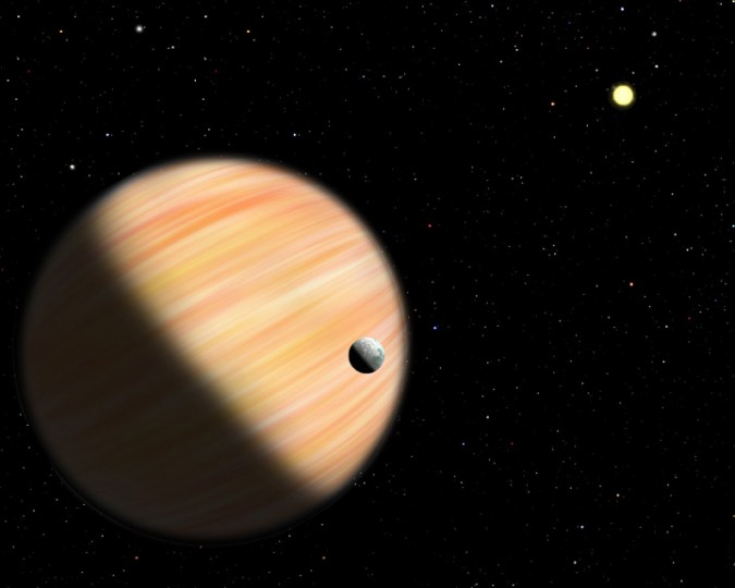 This artist's conception shows a planet half as massive as Jupiter located 13,000 light-years from Earth. It was detected by the Optical Gravitational Lensing Experiment and NASA's Spitzer Space Telescope using microlensing. Spitzer provided parallax measurements that allowed scientists to determine how far away the planet is. Image credit: Christine Pulliam (CfA)