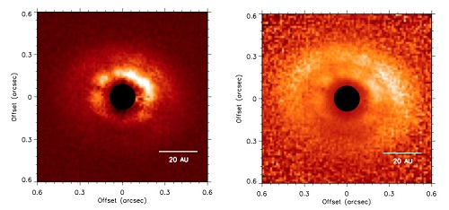 Left: J-band polarized intensity (P⊥) images. Right: P⊥ scaled by r2, where r is the distance in pixels from the central binary, corrected for projection effects. Both images are shown on a linear scale and oriented north up and east left. The coronagraph is represented by the black filled circles.
