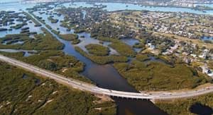 """Natural """"green barriers"""" help protect this Florida coastline and infrastructure from severe storms and floods. Image credit: NOAA"""