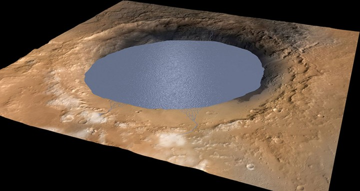 The researchers believe that Gale Crater was a large lake between 3.5 and 2.7 billion years ago. Mount Sharp, which is now an approximately five kilometer tall mountain in the middle of the crater, was probably formed by deposits from the crater and the surrounding area. (Credit: NASA/JPL/Caltech/ESA/DLR/MSSS)