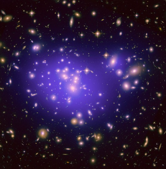 "Dark matter might not be as ""dark"" as previously thought. Image credit: NASA, ESA, E. Jullo (JPL/LAM), P. Natarajan (Yale) and J-P. Kneib (LAM) via spacetelescope.org, CC BY 3.0."