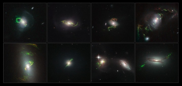 This image shows the winding green filaments observed by the NASA/ESA Hubble Space Telescope within eight different galaxies. The ethereal wisps in these images were illuminated, perhaps briefly, by a blast of radiation from a quasar — a very luminous and compact region that surrounds a supermassive black hole at the centre of a galaxy. In each of these eight images a quasar beam has caused once-invisible filaments in deep space to glow through a process called photoionisation. Oxygen, helium, nitrogen, sulphur and neon in the filaments absorb light from the quasar and slowly re-emit it over many thousands of years. Their unmistakable emerald hue is caused by ionised oxygen, which glows green. Image credit: NASA, ESA, Galaxy Zoo Team and W. Keel (University of Alabama, USA)