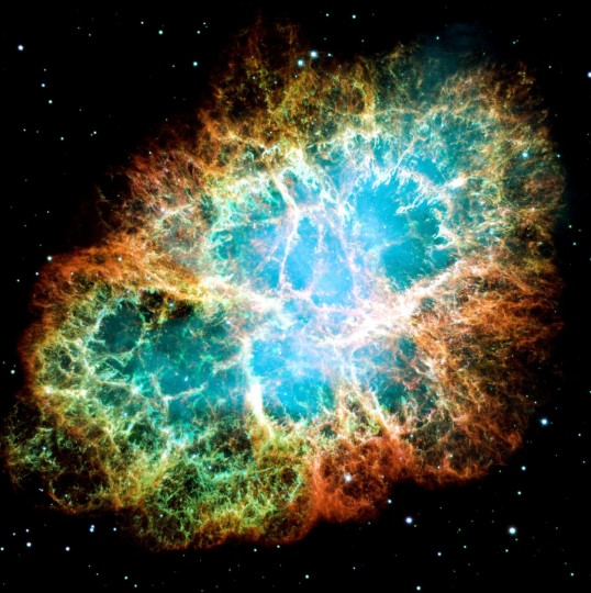 The Crab Nebula is a six-light-year-wide remnant of a star's supernova explosion. Japanese and Chinese astronomers recorded this violent event nearly 1,000 years ago in 1054, as did, almost certainly, Native Americans. A rapidly spinning neutron star, the dense, crushed core of the exploded star, embedded in the center of the nebula powers the eerie interior bluish glow. Image Credit: NASA
