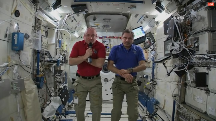 One-Year crew members Scott Kelly (left) and Mikhail Kornienko (right) took a few minutes out of their day to speak to media. Credit: NASA