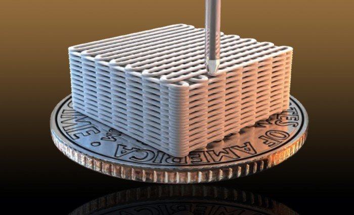 Lawrence Livermore researchers have made graphene aerogel microlattices with an engineered architecture via a 3D printing technique known as direct ink writing. Illustratiion by Ryan Chen/LLNL