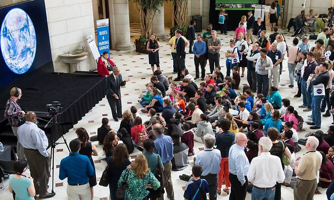 NASA Administrator Charles Bolden speaks to students at the 2014 Earth Day events at Union Station in Washington. Image Credit: NASA/Aubrey Gemignani