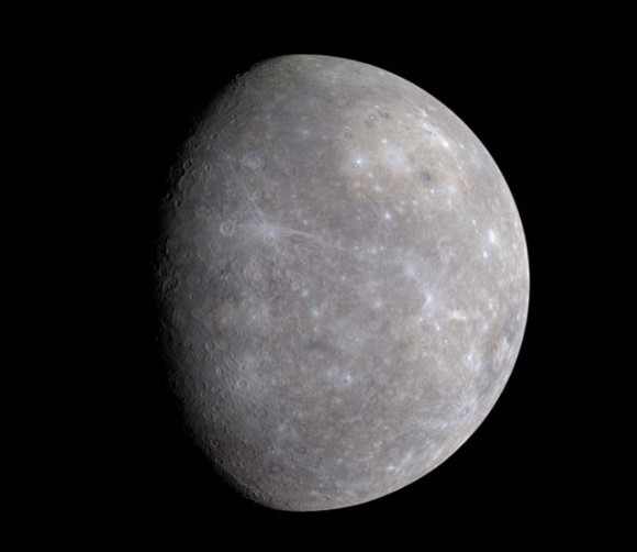 True-color image of Mercury made from MESSENGER data. Credit: NASA/JHU APL/Carnegie Institution of Washington.
