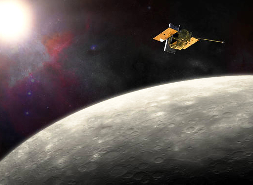 The MESSENGER spacecraft has been in orbit around Mercury since March 2011 – but its days are now numbered. Image Credit: NASA/JHU APL/Carnegie Institution of Washington.