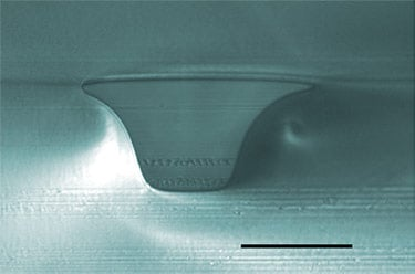 NIST found a combination of techniques to effectively measure microfluidic channels, achieving an accuracy of within 5 percent for both a channel's depth and its bottom's width. Scale bar in this cross-section of a channel represents 50 micrometers. Image credit: Reyes/NIST