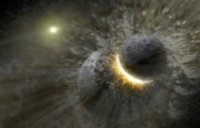 The inner solar system's biggest known collision was the moon-forming giant impact between a large protoplanet and the proto-Earth. Kilometer-size fragments from this impact hit main belt asteroids at much higher velocities than typical main belt collisions, heating the surface and leaving behind a permanent record of the impact event.Image credit: NASA/JPL-Caltech