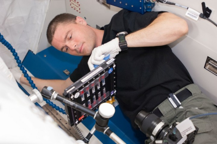 Astronaut Reid Wiseman conducts a session with the Binary Colloidal Alloy Test-C1 experiment during his mission on the Space Station in 2014. Results from this investigation of colloids will help materials scientists to develop new consumer products with unique properties and longer shelf lives. Image Credit: NASA
