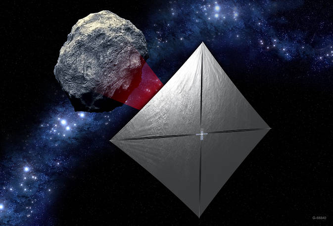 A concept image of the Near-Earth Asteroid Scout mission, one of 11 missions that will be secondary payloads to the first test flight of NASA's Space Launch System. Image Credit: NASA