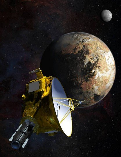 Artist's concept of NASA's New Horizons spacecraft as it passes Pluto and Pluto's largest moon, Charon, in July 2015. Image Credit: NASA/JHU APL/SwRI/Steve Gribben