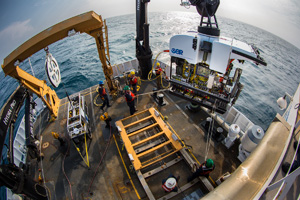 Okeanos Explorer's dual-body ROV system is loaded from the aftdeck of the ship into the water before conducting an exploration dive. Image credit: NOAA