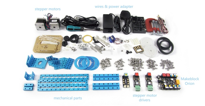 mDrawBot contains over 60 components (and countless screws and nuts)