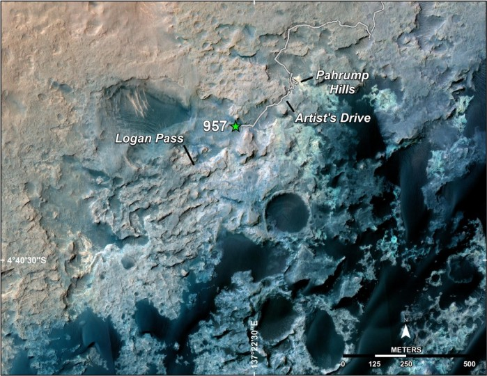 A green star marks the location of NASA's Curiosity Mars rover after a drive on the mission's 957th Martian day, or sol, (April 16, 2015). The map covers an area about 1.25 miles (2 kilometers) wide. Image Credit: NASA/JPL-Caltech/Univ. of Arizona