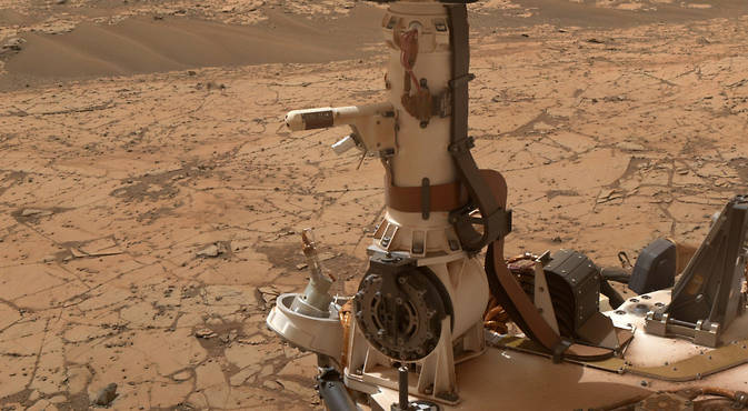 The Rover Environmental Monitoring Station (REMS) on NASA's Curiosity Mars rover includes temperature and humidity sensors mounted on the rover's mast. One of the REMS booms extends to the left from the mast in this view. Image Credit: NASA/JPL-Caltech/MSSS