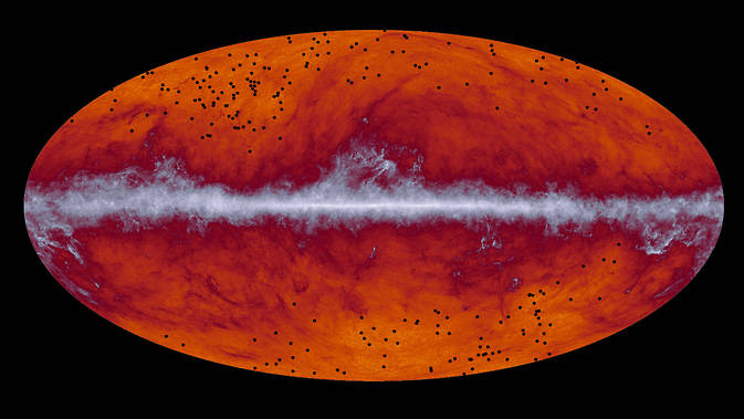 This map of the entire sky was captured by the European Space Agency's Planck mission. The band running through the middle corresponds to dust in our Milky Way galaxy. Image Credit: ESA and the Planck Collaboration