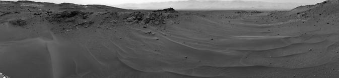 NASA's Curiosity Mars rover used its Navigation Camera (Navcam) to capture this scene toward the west just after completing a drive that took the mission's total driving distance on Mars past 10 kilometers (6.214 miles). Image Credit: NASA/JPL-Caltech