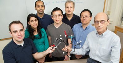 Researchers have developed a new drug that kills estrogen receptor-positive cancers in mice. The team, from left, includes M.D./Ph.D students Neal Andruska, Lily Mahapatra and Mathew Cherian; graduate student Xiaobin Zheng; food science and human nutrition professor William Helferich; research scientist Chengjian Mao; and biochemistry professor David Shapiro. Photo by L. Brian Stauffer