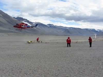 Scientists collected data from the AEM sensor at Bull Pass in the Wright Valley, McMurdo Dry Valleys, Antarctica. (Photo by J. Mikucki)