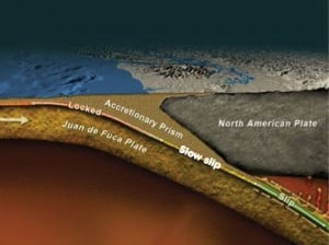 Slow earthquakes happen between the hazardous locked zone and the viscous portion that slips silently. They are found on subduction zones, like Cascadia's, where a heavy ocean plate sinks below a lighter continental plate. Image credit: UW