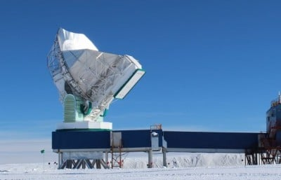 The 10-meter South Pole Telescope, at the National Science Foundation's Amundsen-Scott South Pole Station, joined the global Event Horizon Telescope array in January. Image credit: Dan Marrone/UA