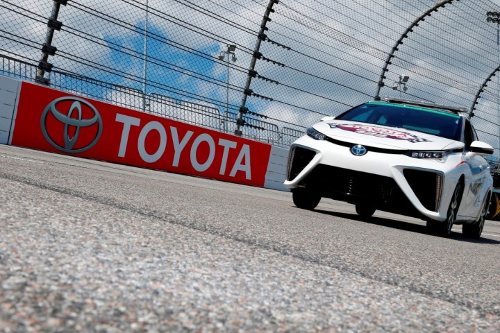 Toyota will showcase its innovation and environmental leadership with Mirai pacing NASCAR race. It should bring more attention to the car that emits just water vapour. Image courtesy of Toyota