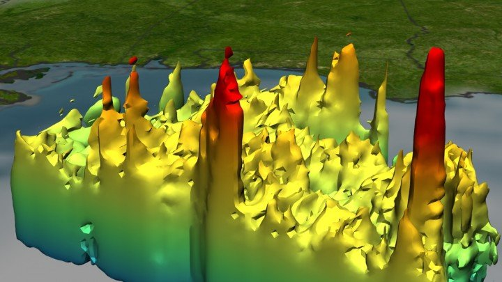 TRMM observes the 3-D rain structure of Hurricane Katrina on Aug. 28, 2005, including the red spikes known as hot towers that appear where the storm is most intense. The center tower is located on the hurricane's eyewall. Image Credit: NASA