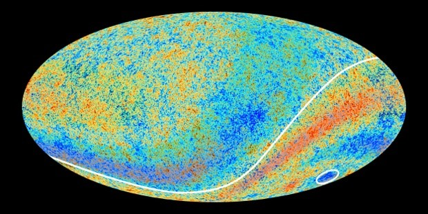 Cold Spot – encircled at the bottom right – as seen in an earlier image from the Planck telescope. Image credit: ESA and the Planck Collaboration.