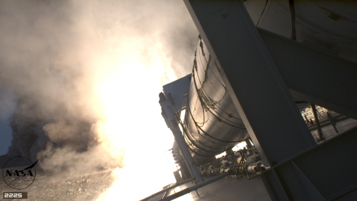 A screenshot of the cameras cycling through different settings during the two-minute booster firing. Credits: NASA/MSFC
