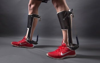 A passive-elastic ankle exoskeleton was shown to reduce the energy cost of human walking. Image credit: Stephen Thrift, North Carolina State University
