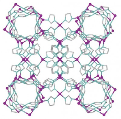 Filigree cages: Using a variant of powder X-ray diffraction co-developed by scientists at the Max Planck Institute for Solid State Research, an international team has discovered a previously unknown structure of the metal-organic framework compound ZIF-8. The researchers named the new structure katsenite. © Nature Communications 2015
