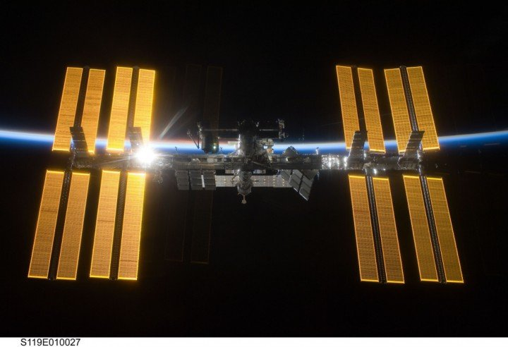 The International Space Station in orbital twilight during the departure of STS-119 Space Shuttle Discovery. Image credit: NASA/STS-119