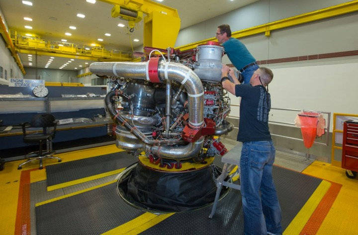 Aerojet Rocketdyne technicians put the final touches on the 16th engine for the RS-25 program. This engine will join three others to help propel the nation's most powerful rocket, the Space Launch System, which is currently in-development by NASA. Credits: Aerojet Rocketdyne