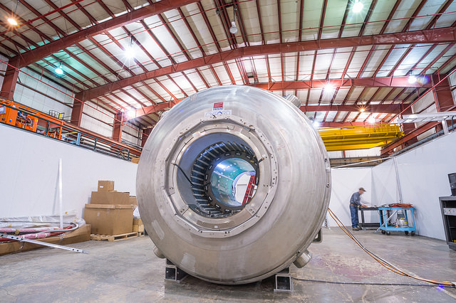 Argonne high-energy physicist Peter Winter, who recently won a DOE Early Career Award, is reusing old MRI magnets, like the one seen above, to benchmark instrumentation for new high-energy physics experiments. Photo by Mark Lopez
