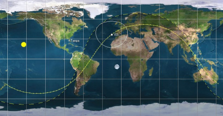The orbital trace of the ISS starting on May 30th. Image credit: Orbitron