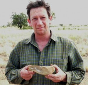 Professor John Long with the Gogo shark (Gogoselachus) fossil in 2005
