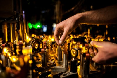 Laser beams are precisely aligned before being sent into the vacuum chamber. Photo: Jose-Luis Olivares/MIT