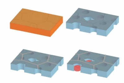 In a two-step process, engineers have successfully sealed leaks in graphene. First, the team fabricated graphene on a copper surface (top left) — a process that can create intrinsic defects in graphene, shown as cracks on the surface. After lifting the graphene and depositing it on a porous surface (top right), the transfer creates further holes and tears. In a first step (bottom left), the team used atomic layer deposition to deposit hafnium (in gray) to seal intrinsic cracks, then plugged the remaining holes (bottom left) with nylon (in red), via interfacial polymerization. Courtesy of the researchers