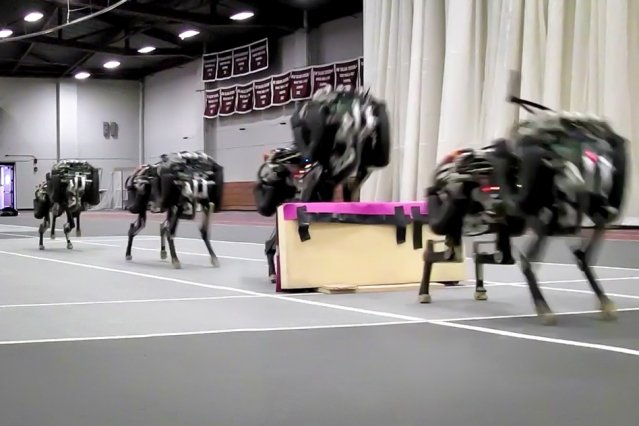 MIT researchers have trained their robotic cheetah to see and jump over hurdles as it runs — making this the first four-legged robot to run and jump over obstacles autonomously. Image: Haewon Park, Patrick Wensing, and Sangbae Kim.