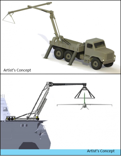 DARPA's SideArm effort seeks to create a self-contained, portable apparatus able to horizontally launch and retrieve UAS of up to 900 pounds from trucks, ships and fixed ground facilities. DARPA developed SideArm as part of Tern, a joint program between DARPA and the U.S. Navy's Office of Naval Research that seeks to enable forward-deployed small ships to serve as mobile launch and recovery sites for medium-altitude, long-endurance unmanned aerial systems.