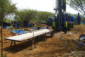 This drill rig collected a sediment core about 750 feet long from ancient lake deposits in the Tugen Hills of central Kenya. By analyzing the core, members of the Hominin Sites and Paleolakes Drilling Project are learning about local climatic and environmental conditions 3.5 to 2.5 million years ago. Image credit: Hominin Sites and Paleolakes Drilling Project