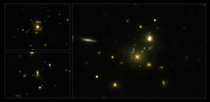 This image taken with the NASA/ESA Hubble Space Telescope shows a selection of galaxies used in a survey to confirm the link between mergers and high-speed jets from supermassive black holes. These galaxies have very strong emissions at radio wavelengths, implying that the supermassive black holes they host are feeding huge outflows of plasma. On the left (top to bottom) are the galaxies 3C 297 and 3C 454.1, on the right is 3C 356. Credit: NASA, ESA, M. Chiaberge (STScI)