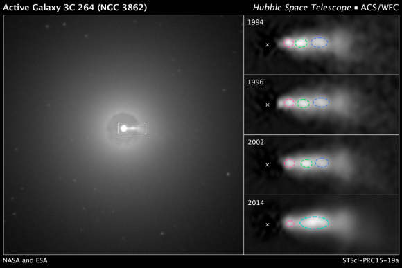 Activity within a jet from NGC 3862 observed with Hubble over 20 years. Credit: NASA, ESA, and E. Meyer (STScI).