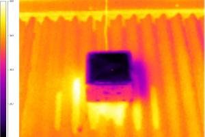 An infrared image showing the temperature difference between the new surface (centre) and an existing cool roof used in testing. Picture by the research team