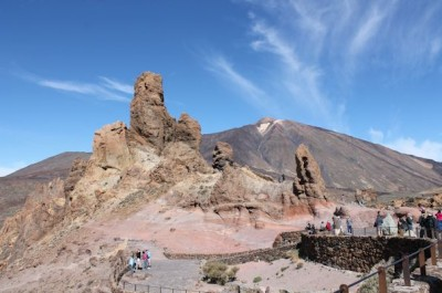Teide volcano, Tenerife, with an ancient volcanic plumbing system exposed in the foreground